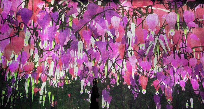 Proliferating Immense Life – A Whole Year per Year by teamLab. This continually changing artwork is rendered in real time by a computer program so that no image ever repeated