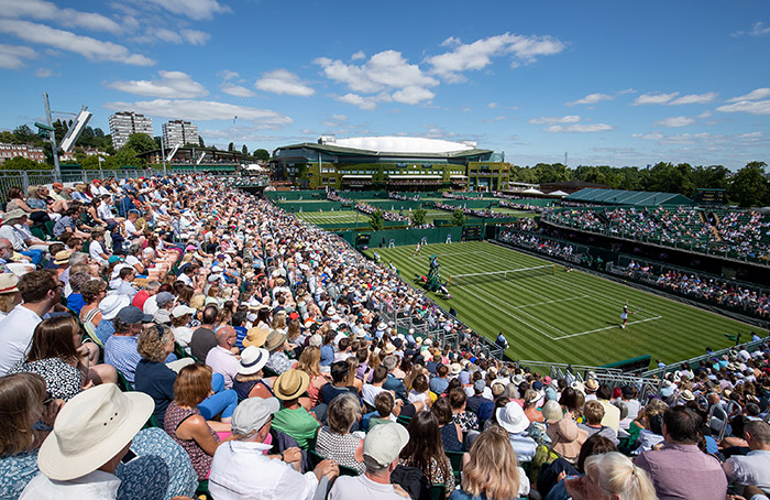 The view of Court 12, overlooking the southern outside courts as well as Centre Court. Image Credit: AELTC/Thomas Lovelock