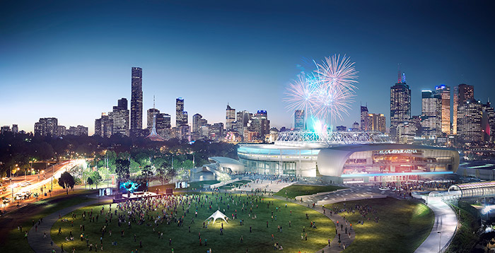 The redevelopment of Melbourne Park includes a new roof for the Rod Laver Arena, a new hospitality area, a new function and media centre, a new public cafe, and a new 5,000-seat show court arena All images: Images Supplied Courtesy Of Development Victoria