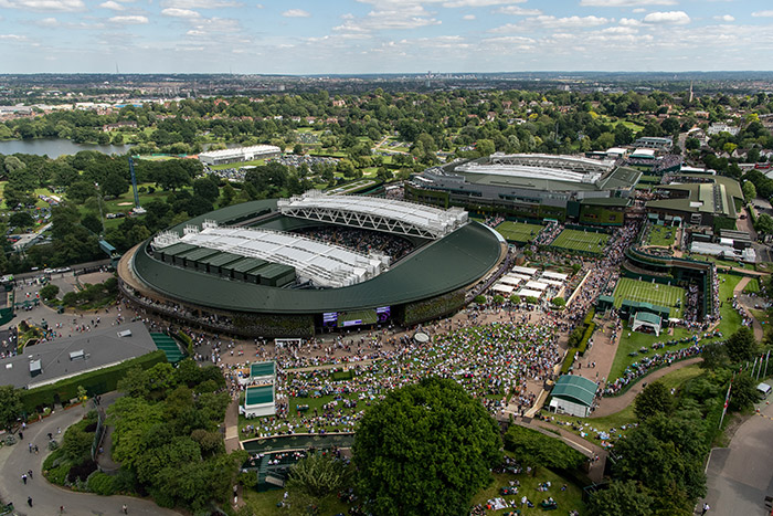 Wimbledon's No 1 Court with 'The Hill' in the foreground. Image Credit: AELTC/Joe Toth