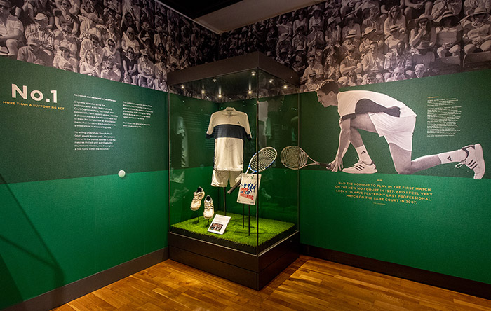 The No 1 Court Exhibition at the Wimbledon Lawn Tennis Museum. Image Credit:  AELTC/Thomas Lovelock