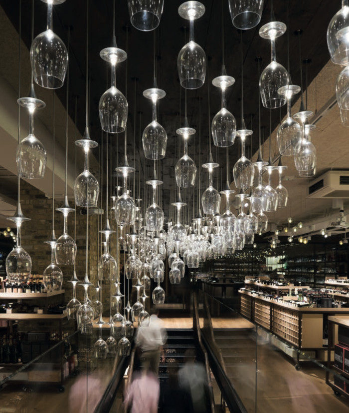 The suspended glasses at Hedonism Wines in London. Image Credit: JAMES NEWTON PHOTOGRAPHS