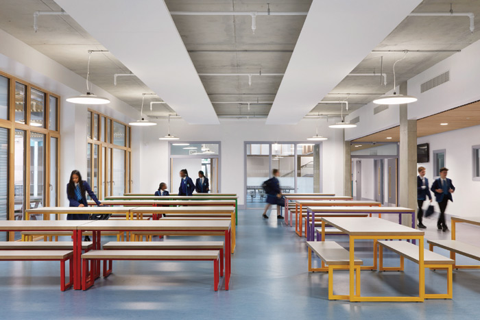 A simple palette of materials is left exposed throughout the school