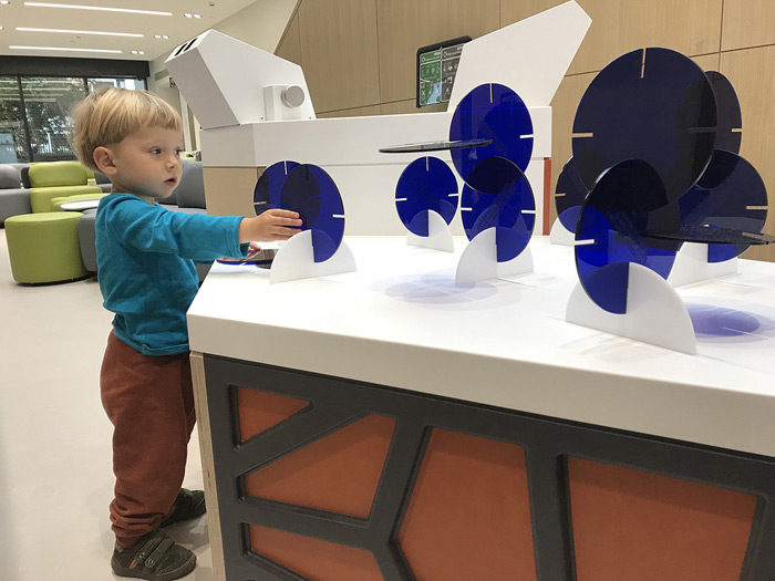 Children play with the interactive artworks installed at GOSH's Zayed Centre for Research, which have been out of bounds during lockdown