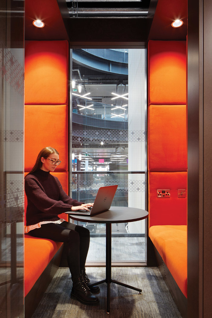Flexible workspaces encourage movement around the building
