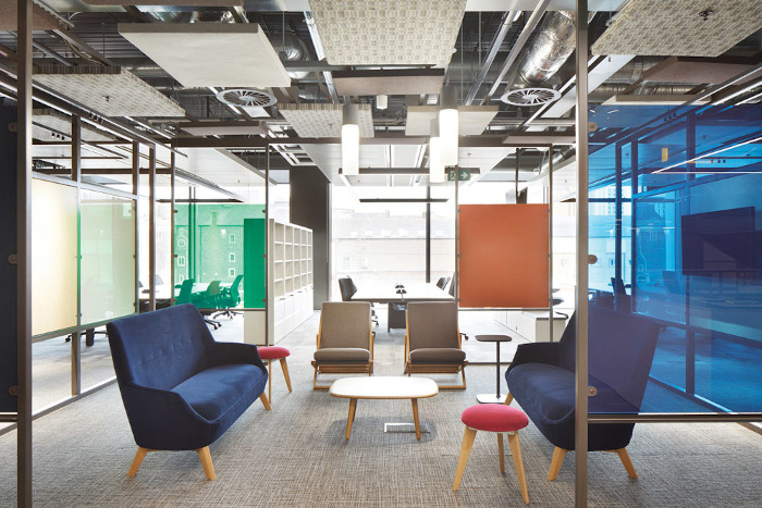 When specifying acoustic panels Berresford realised it would be sufficient and efficient to only cover 50% of ceilings with them, which has an added bonus of helping with sustainability