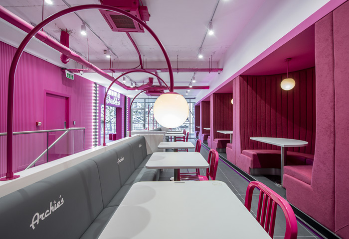 Archie's, Manchester: Archie's hot pink colour alone has become instantly recognisable in Instagram shots, but the widespread use of the name around the Manchester burger restaurant ensures maximum coverage. The numerous different photo opportunities around the venue encourage repeat visits. Design: NoChintz Fit out: Retail Outlet Design Signage: Hartbrights Kitchen CK Kitchen Assistance Furniture NoChintz