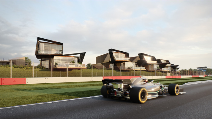 The properties feature cantilevered terraces, allowing spectators to be close to the racetrack
