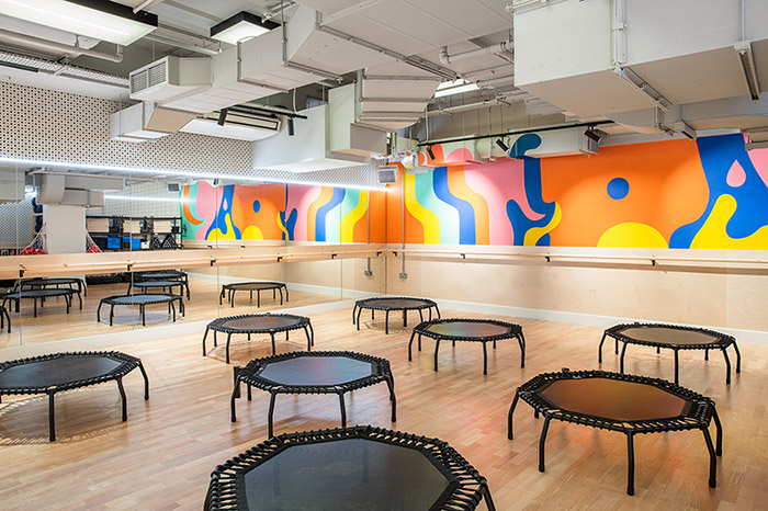 Frame: For her collaboration with Frame gym, O'Hara has created a colourful and vibrant mural for one of the yoga studios. As she explains: 'Whilst high-intensity workouts take place in the studio, there are also yoga and pilates classes that situate in there, so the challenge was to create an energetic but also relaxing atmosphere.' The fluid shapes work for both scenarios – enlivening yet calming.