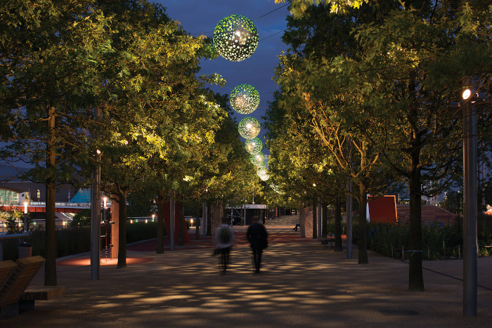 The catenary system for the promenade at the Queen Elizabeth Olympic Park, London. 'The effect is reminiscent of light filtering through a forest canopy,' says Speirs + Major