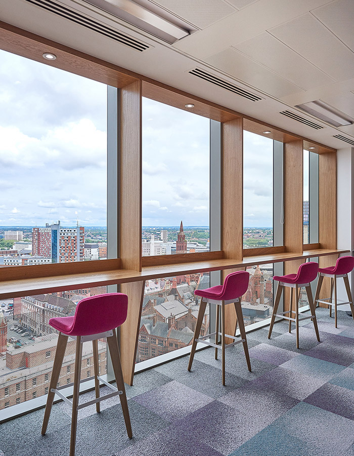 Every square foot is unique, with varied finishes, sustainable furniture and views over the city