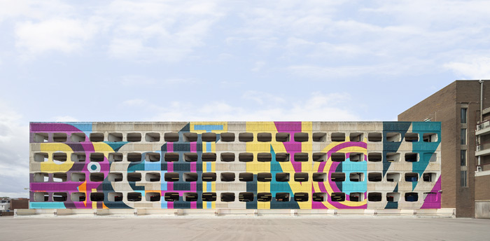 'Right now', an anagram of 'Worthing', featured on a car park facade in the town