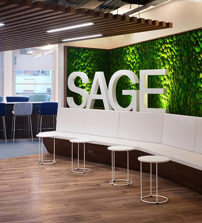 The industry is moving away from carpet as the sole option to using a whole range of biophilic elements – wood, slate, wool rugs, and even natural grass as at this project at Sage Publishing