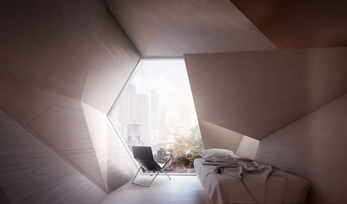 Framlab's Shelter with Dignity 3D-printed geometric pods offer individual spaces that provide privacy and safety.  Image Credit: Joshua Perez/Regan Morton Photography