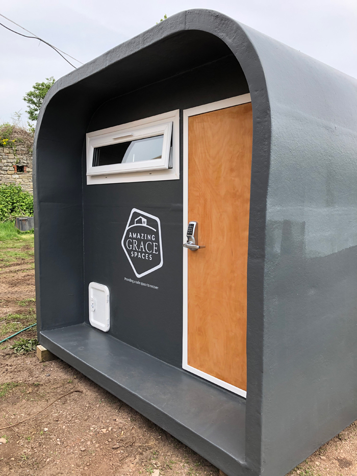 Stuart Johnson of Amazing Grace Spaces used his skills in kitchen design to create to create a compact, easily transportable 'pod' that can provide short-term emergency accommodation for homeless people. The insulated, fire-safe micro-homes cost just £5,500 each