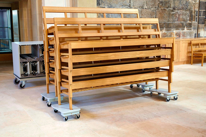 Stackable and easily movable pews at Sheffield Cathedral. Image Credit: Tim Imrie