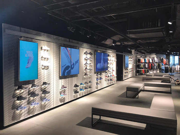 The Nike store on London's Oxford Street features an Aectual interior panel system