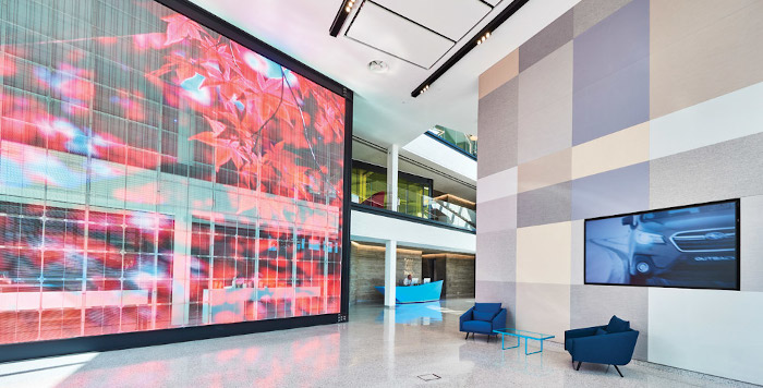 The 7x6m LED video wall