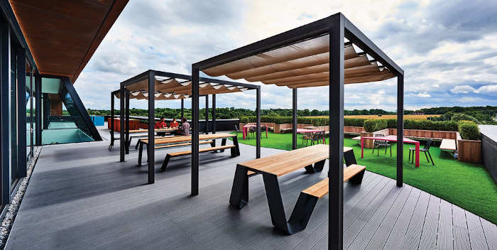 Tranquil spaces have been provided outdoors with a roof terrace