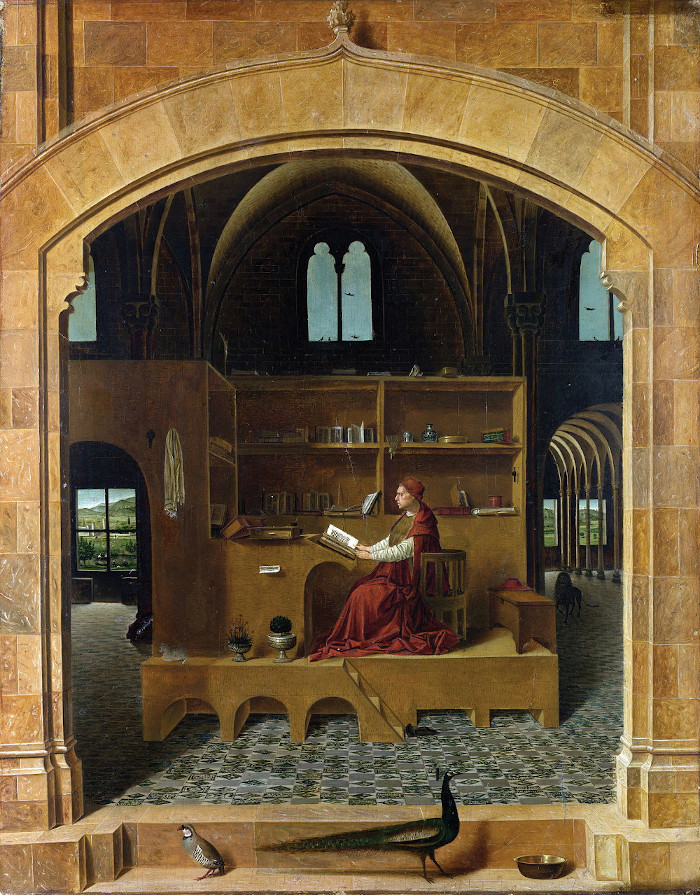 The space was inspired by the Renaissance painting by Antonella da Messina of St Jerome in his Study