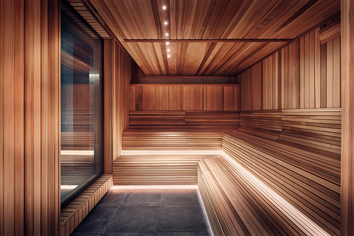 The sauna uses red cedar