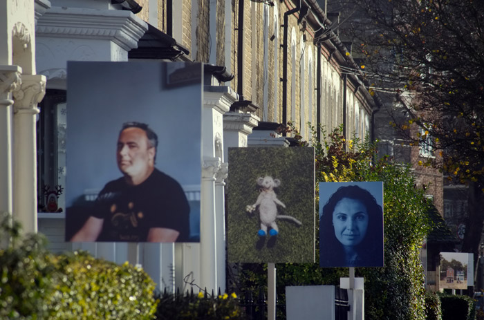 Property letting-style banners pose tributes to frontline workers on Dalberg Road, Brixton