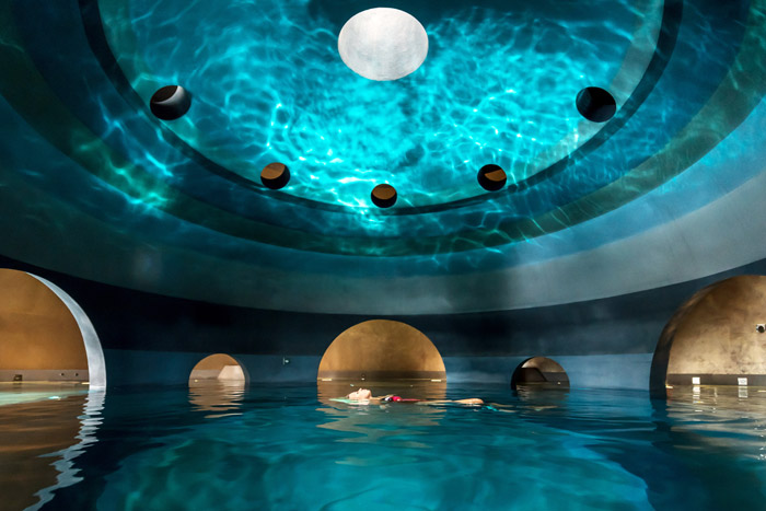 The plunge pool sits at the base of the building. Image Credit: Margarita Nikitaki