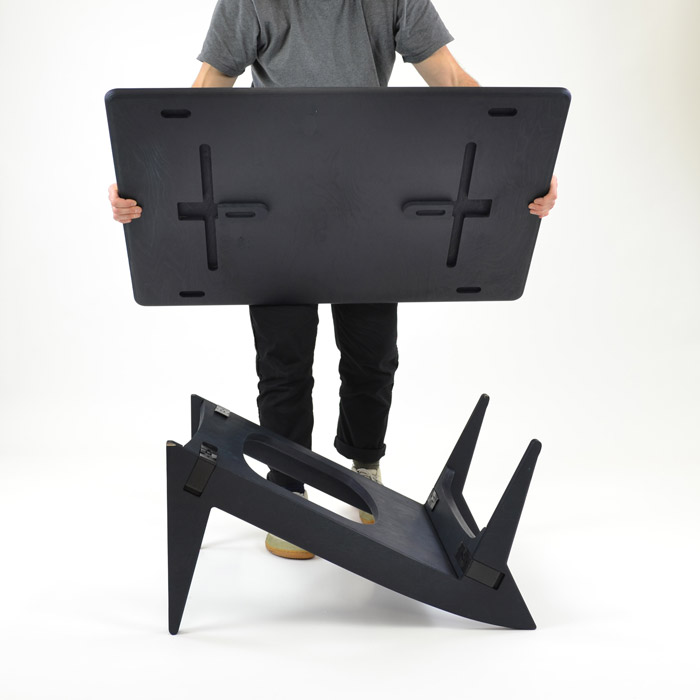Rotable's base can be flipped to transform it from a desk or dining table into a coffee table.