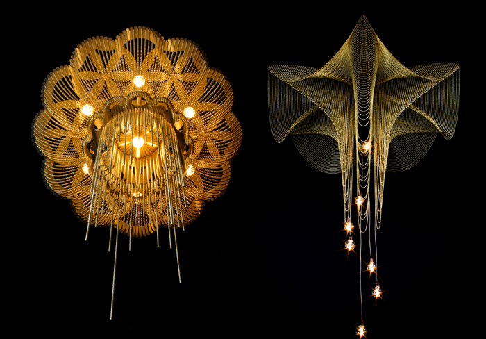 Willowlamp's Fuschia and Flower of Life chandeliers. Image Credit: Beazley Designs Of The Year Award