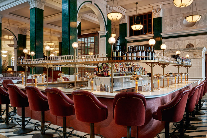 London's The Ned restaurant boasts a lighting scheme by Nulty+ that focuses on surface-mounted, decorative and ornate fixtures rather than contemporary and recessed lighting techniques – but still provides a balanced level of light and colour temperature to suit all times of day.Image Credit: Simon Brown