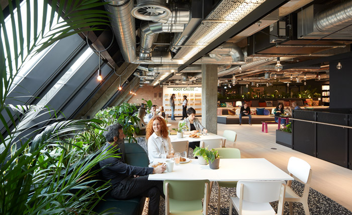 The office has been bequeathed lush communal areas, such as a canteen and dining area, in tandem with the office