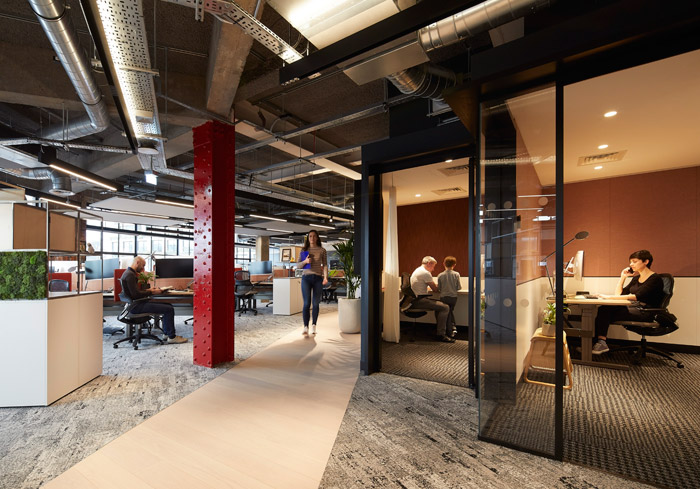 The presence of 'home pods' allows employees to escape from the larger openplan office spaces