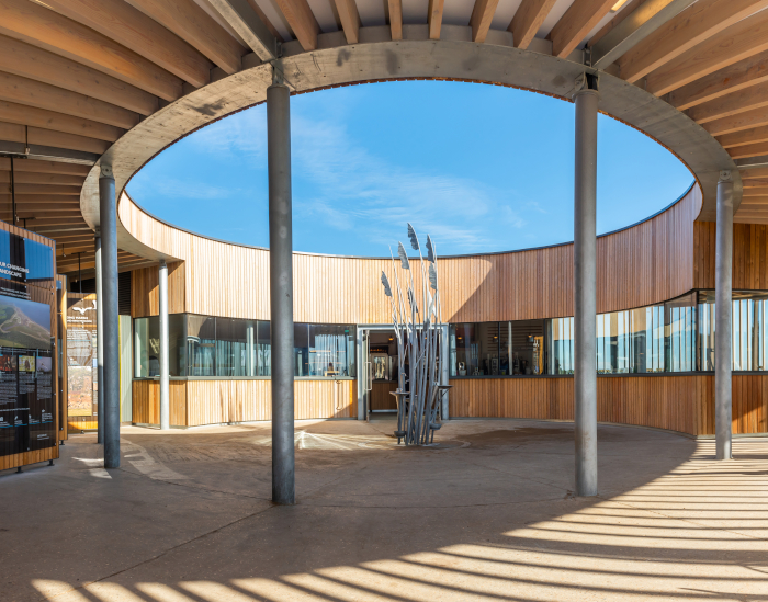 The Lookout's circular shape minimises the structure's visual impact, and the central courtyard frames the big Norfolk sky