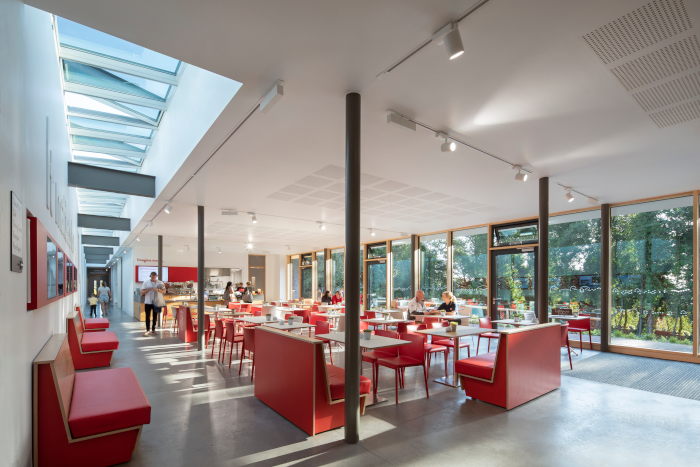 and a multitude of rooms are incorporated, from classrooms to communal cafe areas. Image Credit: GILLIAN HAYES