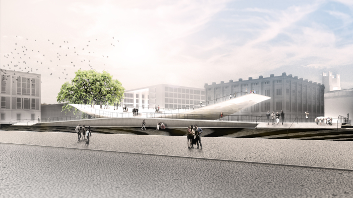 Milla & Partner's bowl monument is designed to be dynamic, able to react alongside the people that view and engage with it