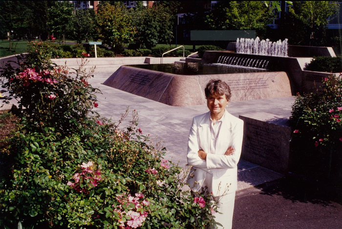 Johnson, in front of the fountain at John F Kennedy Memorial Park in Cambridge, Massachusetts