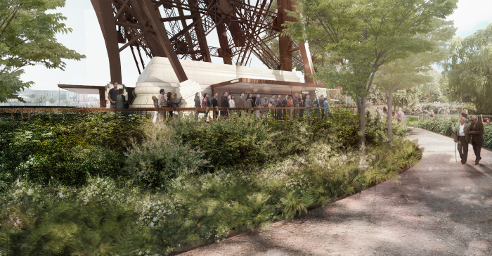 This image The future foot of the Eiffel Tower, a greener, more pedestrianised 54ha area that Paris hopes will be ready for the 2024 Olympics. Image Credit: CHARTIER-CORBASSON/GUSTAFSON PORTER + BOWMAN