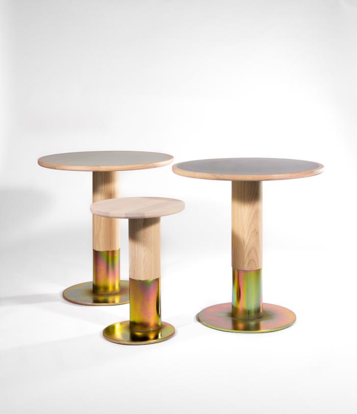 A range of Studio Alt Shift furniture that uses galvanised steel bases and extra-large diameter posts. Image Credit: LUCAS HARDONK