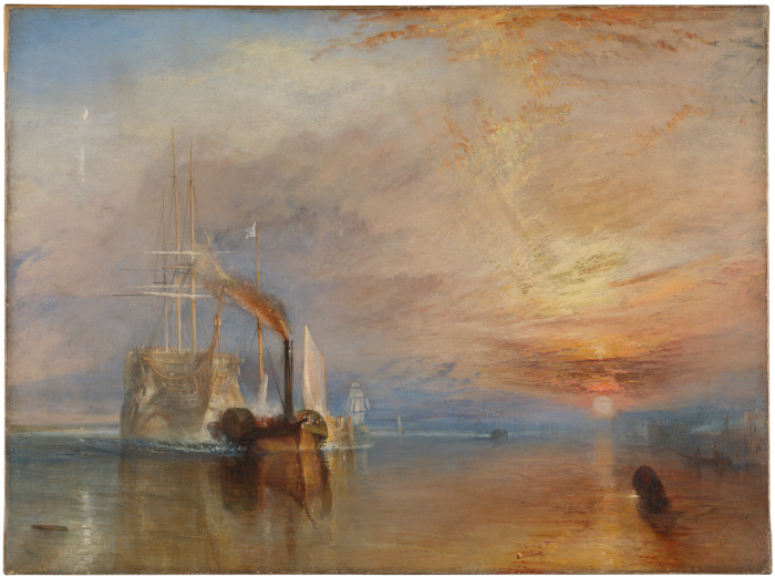 JMW TURNER THE FIGHTING TEMERAIRE TUGGED TO HER LAST BERTH TO BE BROKEN UP, 1838, 1839.Image Credit:The National Gallery, London/NG524