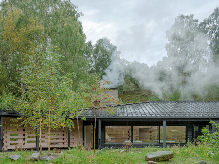 The studio, firmly embedded in its landscape