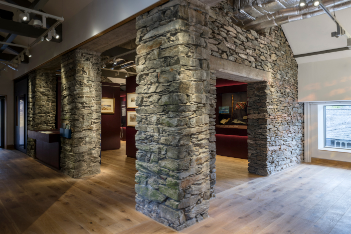 The slate and rust tones used in Gallery Four were inspired by the local Easedale ironstone