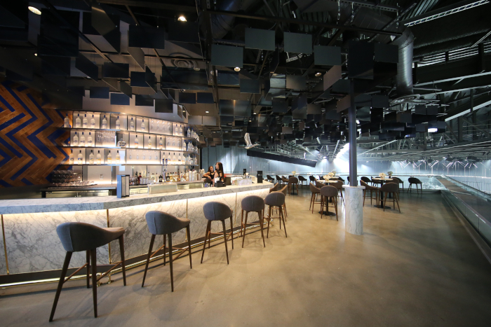 The Grey Goose bar in the T-Mobile Arena in Las Vegas, a premium drinking level that overlooks the stage or platform or rink below