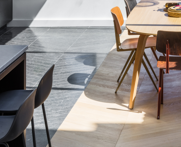 The chevron floors of Applied Studio's recent residential refurbishment project in a traditional terraced house in Hackney