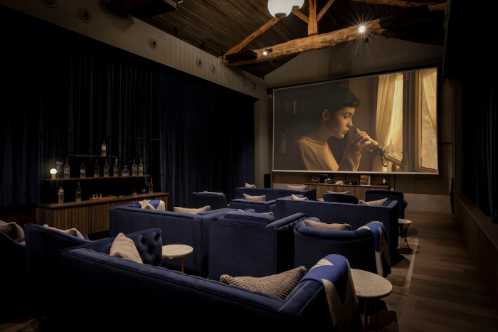 The studio's design for the private cinema in Grey Goose Vodka's headquarters in Cognac, France. Image Credit: BILLY BOLTON