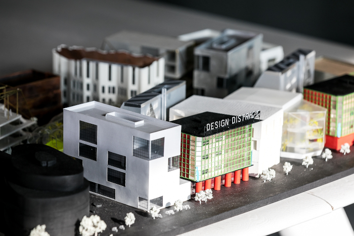 Design District comprises eight pairs of buildings designed by leading UK and European architectural firms. Image Credit: DESIGN DISTRICT