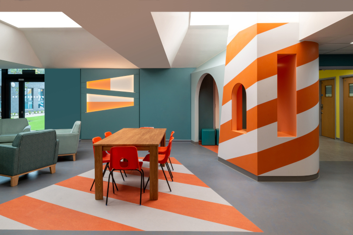 Image credit: FRENCH+TYE. CAMHS Edinburgh: The interior design for the Child and Adolescent Mental Health Services unit at Royal Edinburgh Hospital, including outpatient areas, courtyards and inpatient facilities for children 8–18-years-old, was developed through user workshops with artist James Leadbitter. The colourful interiors are welcoming and noninstitutional, avoiding artificial domesticity.