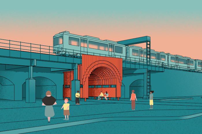 Nine Elms Gateways: This co-design project with local children, residents and traders will create a new identity for Nine Elms in London, empowering residents and celebrating the area's history. Railway 'daggerboards' have been reinterpreted for a new design language, and a kit of parts developed, including a community totem and an archway with integrated seating.