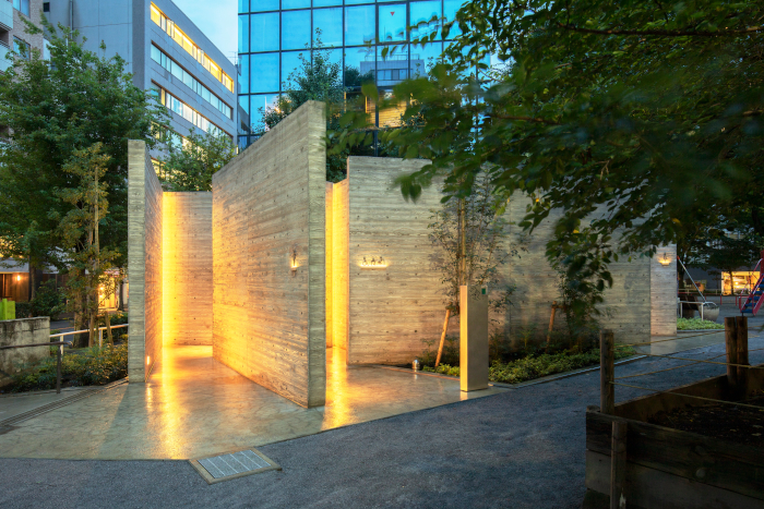 Ebisu Park toilets, designed by Wonderwall founder Masamichi Katayama. They are based on ancient Japanese toilets called kawaya, which were made from wood slats bound together. The toilets are part of the Tokyo Toilet Project, of which seven of a projected 17 have been completed, at a total cost of nearly £5m – with the rest to be finished this year Designer: Masamichi Katayama/Wonderwall Client: Nippon Foundation Sanitaryware: Toto Contractor: Daiwa House Industry. Image Credit: SATOSHI NAGARE/NIPPON FOUNDATION