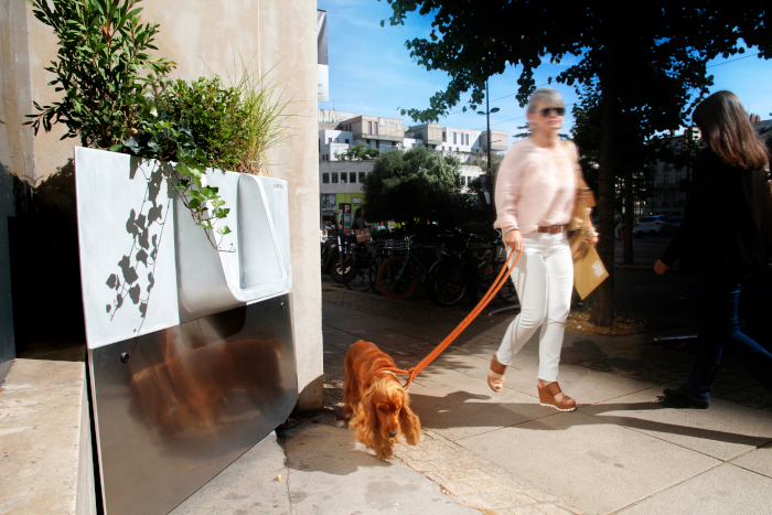 French design company Faltazi created the Uritrottoir as an attractive and eco-friendly solution to wild toileting on city streets. Available in versions that hold up to 450L, the urinals are filled with a mix of straw, wood shavings and sawdust that is collected and turned into compost used to grow the flowers in the top. A female version, in a cylindrical pod on legs, has also been developed