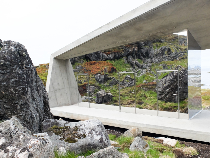 This image The Bukkekjerka rock formation in Andøya, Norway, is part of the country's Norwegian Scenic Route. But the rough terrain and consecrated ground challenged Morfeus – the architects – so it designed a sculptural folded concrete amenity building, inspired by the jagged peaks in the area. The toilets have one-way mirror glass, so that visitors can admire the view Architect: Morfeus arkitekter Client: Norwegian Scenic Routes Structural engineer: K Apeland Landscape architect: Aaste Gulden Sakya Contractor: Veidekke Entreprenør. Image Credit: MORFEUS STØVRING WILLE